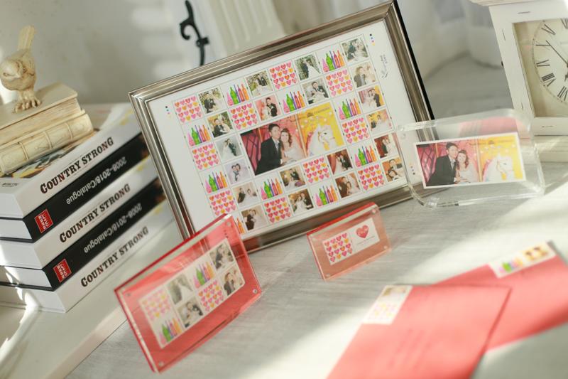 「心思心意郵票 + 婚禮」水晶相框